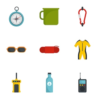 Camp travel icon set, flat style