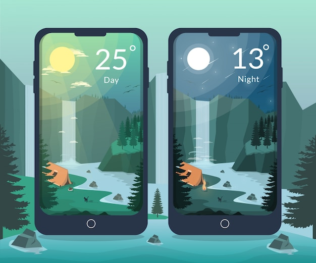 Camp in the waterfall river day and night illustration for weather mobile app