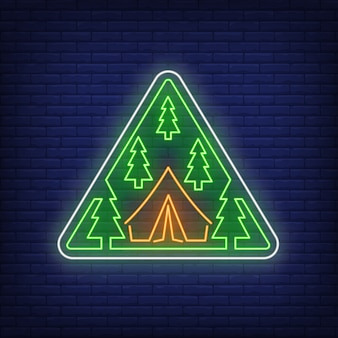 Camp in woods neon sign
