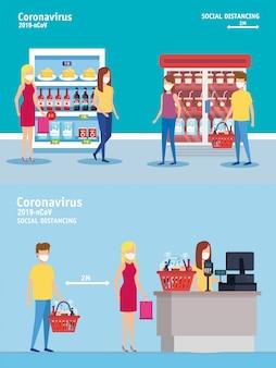 Кампания социального дистанцирования для covid 19 в супермаркете дизайн векторные иллюстрации