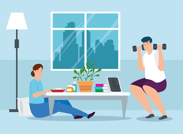 Campaign stay at home with couple vector illustration design