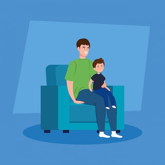 Campaign stay at home with father and son in living room