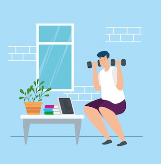 Campaign stay at home with man lifting weights vector illustration design