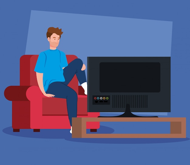 Campaign stay at home with man watching tv