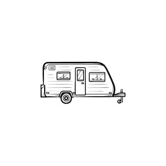 캠핑카 손으로 그린 개요 낙서 아이콘입니다. 캠핑 트레일러, 휴가 및 여행, 관광 및 여행 개념