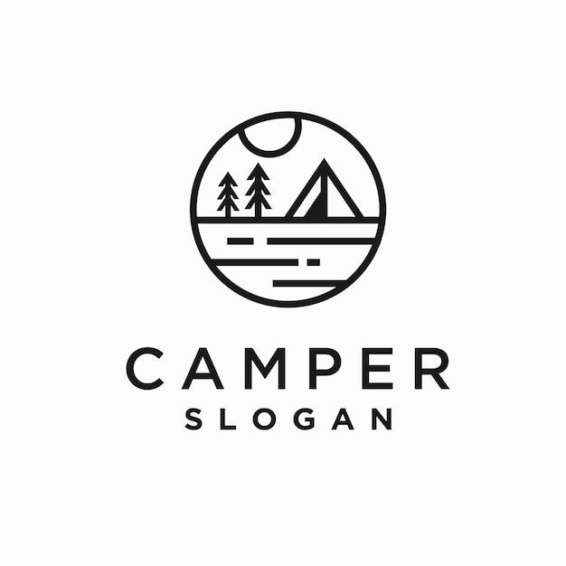 Camper logo with retro line concept