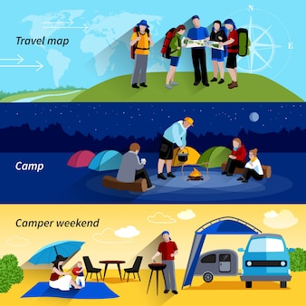 Camper people banners set with camp family picnic and travel map symbols