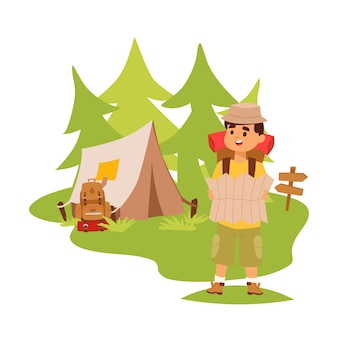 Camper tourist tent outdoor, hiking with backpack, man with map exploring nature, cartoon character, outdoor adventures.