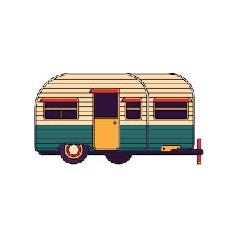 Camper Trail Vector Line Illustration
