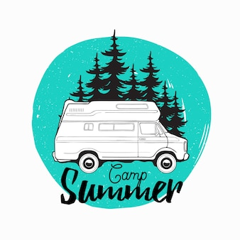 Camper trailer, campervan or recreational vehicle driving on road against spruce trees on background and camp summer inscription written with cursive font. illustration for logo, advertising.