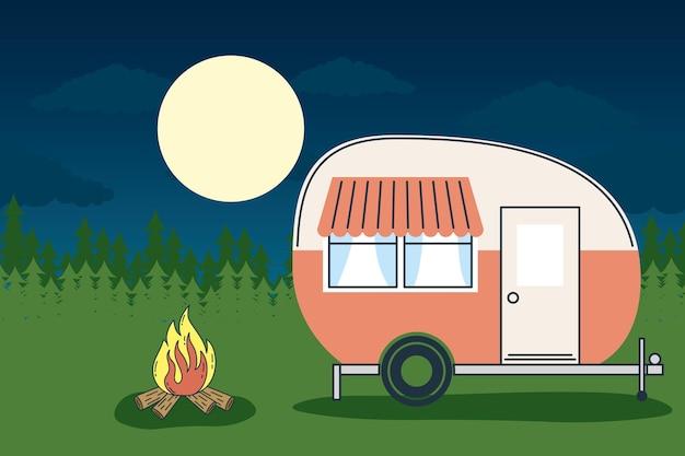 Camper trailer at forest landscape at night design of caravan trip camp adventure transportation and travel theme vector illustration