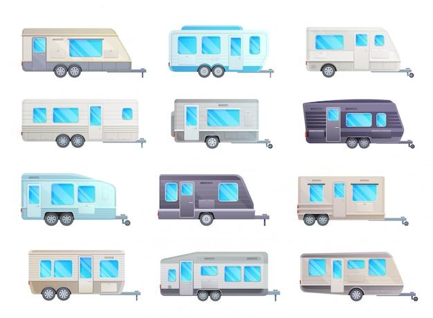 Camper trailer, travel caravan, rv car and van set