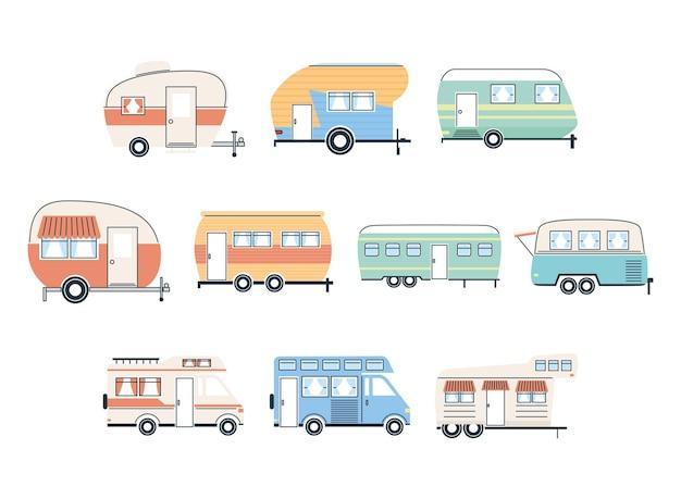 キャンピングカートレーラーとバンのアイコングループデザインキャラバン旅行キャンプ冒険輸送と旅行のテーマベクトル図