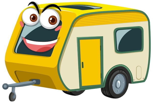 Camper trailers cartoon character with face expression on white background