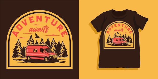 Camper van adventure tshirt design