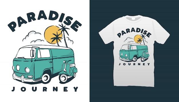 キャンピングカーとスクーターのtシャツのデザイン