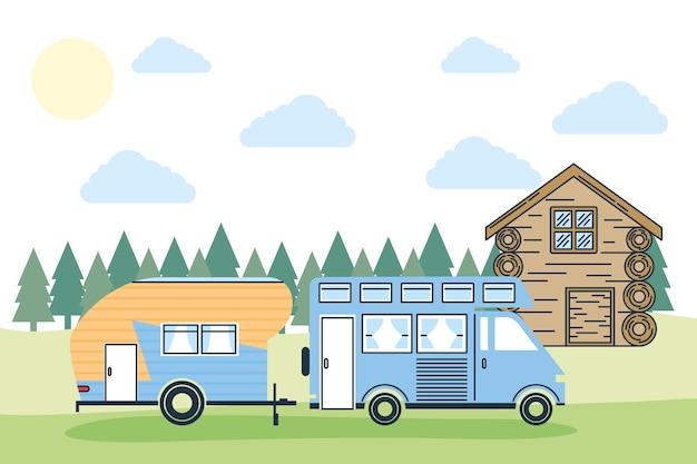 캐러밴 여행 캠프 모험 교통 및 여행 테마 벡터 일러스트 레이 션의 숲 풍경 디자인에서 트레일러와 함께 캠퍼 밴