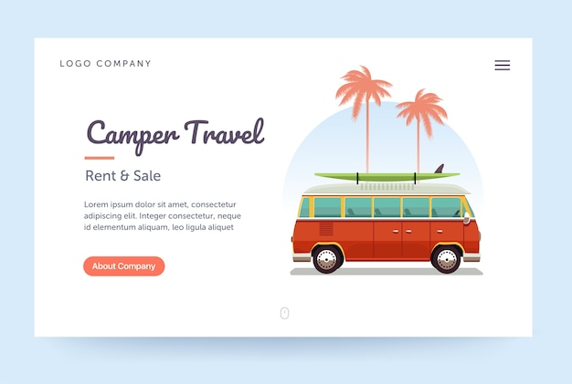 Шаблон веб-сайта путешествия camper