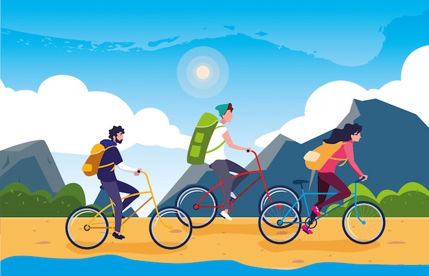 Campers in beautiful landscape scene with bicycles