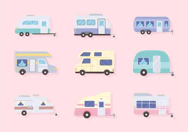 Campers cars and trailer