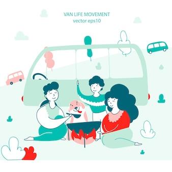 Отдыхающие едят на открытом воздухе рисованной