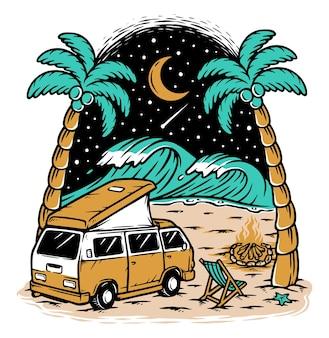 キャンピングカーと夜のイラストでビーチビュー