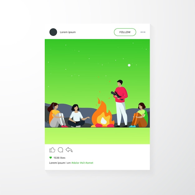 캠프 파이어, 캠핑, 이야기 이야기 개념. 쾌활한 사람들이 불에 앉아 무서운 이야기를하고 재미