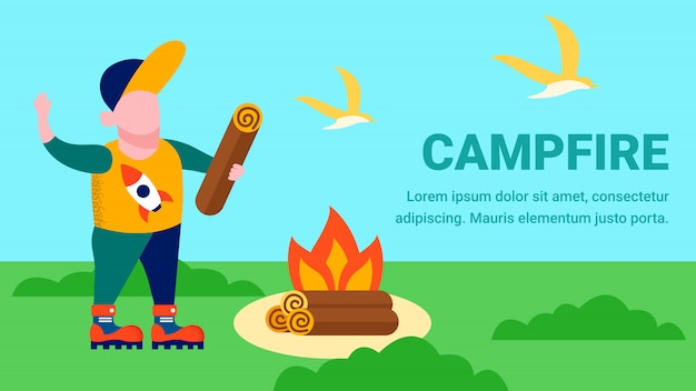 Campfire cartoon landing page with place for text