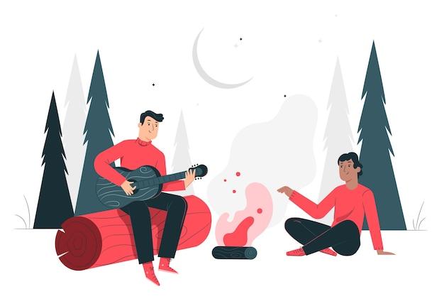 Campfire concept illustration