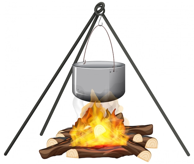 Campfire and cooking pot on stand on white background