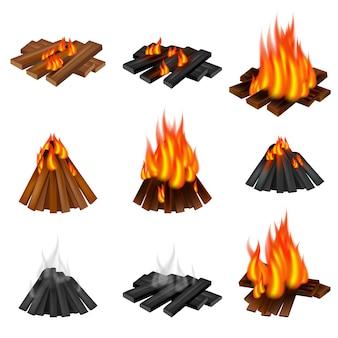 Campfire icon set