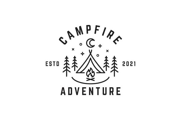 キャンプファイヤーの夜のイラストのロゴ