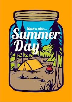 Campfire on the summer days on mountain scenery and forest with retro vector illustration