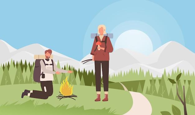 キャンプファイヤー旅行冒険ベクトルイラスト。漫画の男性女性観光キャラクターが森の近くの牧草地でキャンプファイヤーを点灯