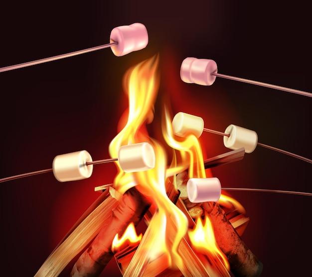 У костра с ярким пламенем и деревянными палками с фигурами иллюстрации