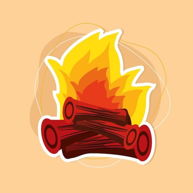 キャンプファイヤーの木の炎