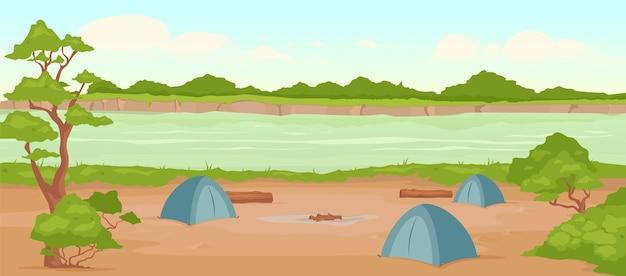 キャンプ場フラットカラーイラスト。野生の川岸。自然の中でのレクリエーション