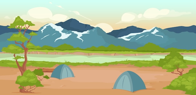 Campground flat color . wild river bank. recreation in nature. summertime active leisure. hiking journey. tents 2d cartoon landscape with rocky mountains on background