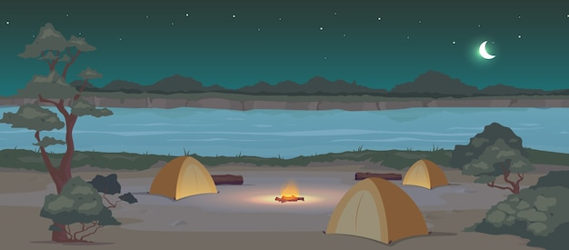 Campground at night flat color . recreation in nature. summertime active leisure. camping journey. tents 2d cartoon landscape with river and woodland at midnight on background