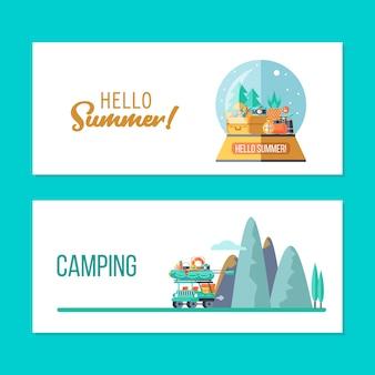 캠핑. 도시와 자동차의 여행. 여름 야외 레크리에이션. 텐트, 낚시, 야외 게임에 머무르십시오. 산 풍경입니다. 유리 공에 기념품입니다. 벡터 일러스트 레이 션.