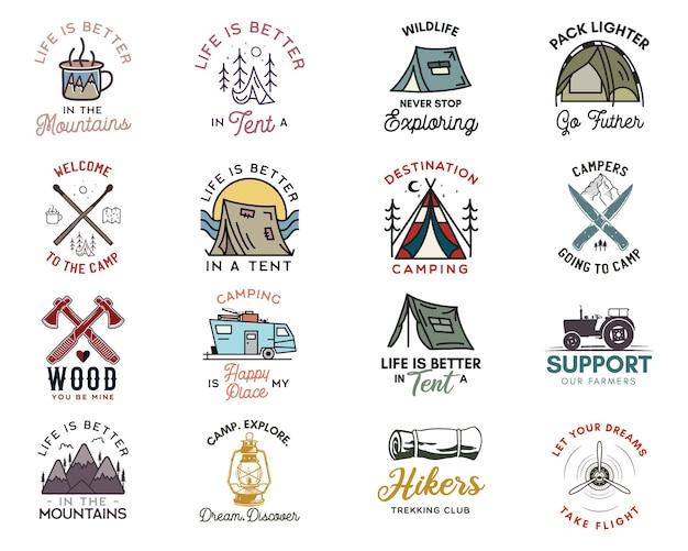 Набор логотипов значки приключений кемпинга, старинные эмблемы путешествия. нарисованные рукой стикеры искусства линии конструируют большую связку. походная экспедиция, отдыхающие цитируют лейблы. знаки отличия кемперов на открытом воздухе. набор векторных запасов.