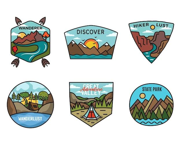 キャンプアドベンチャーバッジのロゴセット、ヴィンテージ旅行のエンブレム。手描きステッカーデザインバンドル