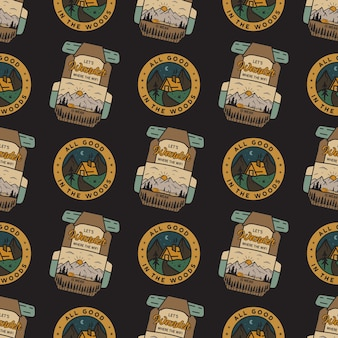 Camping adventure badges pattern.