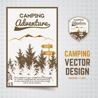 森のイラストとキャンプアドベンチャーチラシ。国立公園