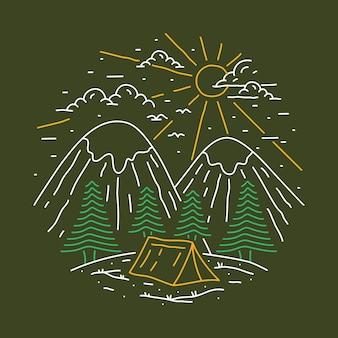 Кемпинг приключение в лесу линия графическая иллюстрация искусство дизайн футболки