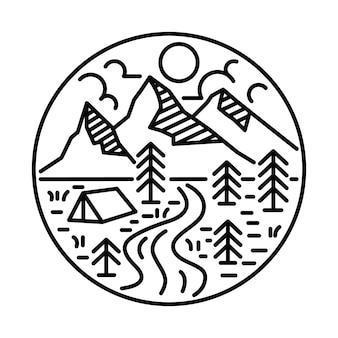 Camping adventure line graphic illustration art t-shirt design