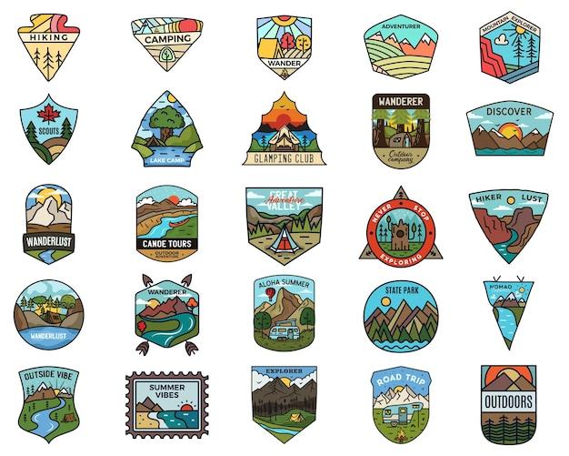 キャンプアドベンチャーのロゴを設定します。ヴィンテージ旅行のエンブレム。手描きのバッジステッカーデザインバンドル。放浪癖、国立公園、スカウトのラベル。屋外の自然の記章。 logotypesコレクション。株式ベクトル。