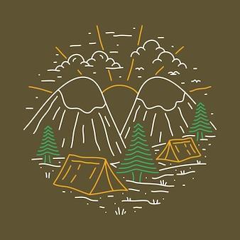 Camping adventure nature line graphic illustration art t-shirt design