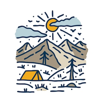 Camping adventure and nature line graphic illustration art t-shirt design