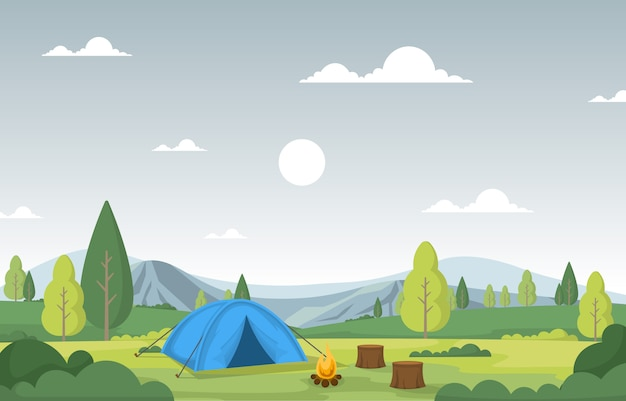 Отдых на природе приключения открытый парк гора природа пейзаж мультяшный иллюстрация
